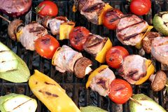 Shish Kabobs On The Grill Close-up Stock Images