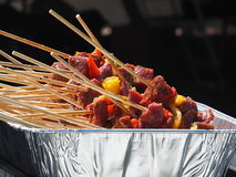 Shish Kabobs Waiting TO Be Cooked Royalty Free Stock Images