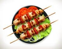 Shish kebab σε ένα πιάτο διανυσματική απεικόνιση
