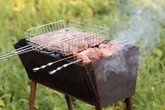 Shish kebab στους άνθρακες Στοκ Εικόνα