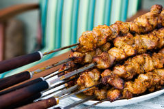 Shish Kebab. Closeup grilled shish kebab on skewer Stock Images