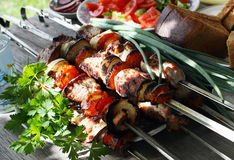 Shish kebab. Skewers with a shish kebab Royalty Free Stock Photography