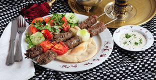 Shish kebab. Grilled shish kebab on pita bread with salad Stock Photography