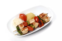 Shish kebab. Fresh  shish kebab at the white plate Stock Photo