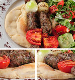 Shish Kebab. Barbecued shish kebab on pita bread Royalty Free Stock Image