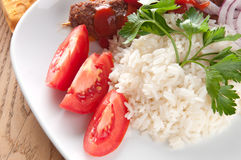 Shish kebab. With rice onions Stock Photo