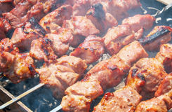 Shish kebab is baked over a fire with smoke. Stock Images
