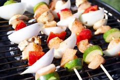 Shish Kebab BBQ. Chicken Meat Slices with Vegetables. Juicy Slices of Chicken Meat with Sauce Prepare on Fire Stock Photography