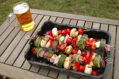 Shish-kebab and beer Stock Photo
