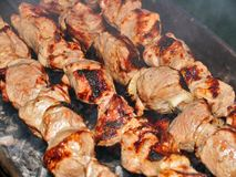 A shish kebab on a brazier Royalty Free Stock Photography