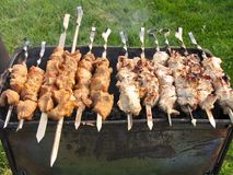 Shish kebab on a brazier Royalty Free Stock Photography