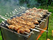 Shish kebab on a brazier Stock Photo