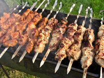 Shish kebab on a brazier Royalty Free Stock Photo