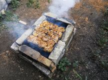 Shish kebab from a chicken on an improvised barbecue made of bricks. stock photo