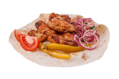 Shish kebab from chicken wings. Isolated on white background Stock Images