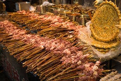 Shish kebab, China. Shish kebab for sell in Muslim Quarter in Xi`an, China Royalty Free Stock Photo