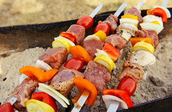 Shish kebab close up Stock Photography