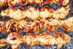 Shish kebab close-up. Stock Images