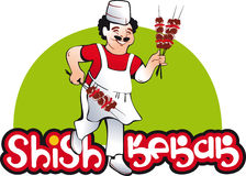 Shish kebab cook, east kitchen character Royalty Free Stock Photos