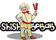 Shish kebab cook, east kitchen character Royalty Free Stock Photography