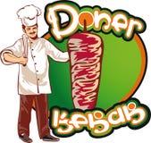 Shish kebab cook, east kitchen character Stock Photo
