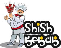 Shish kebab cook, east kitchen character Stock Photos