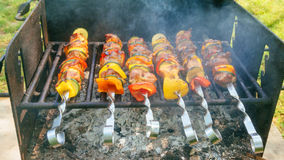 Shish Kebab cooking on the Nature Royalty Free Stock Photography