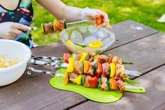 Shish Kebab cooking on the Nature Royalty Free Stock Photos