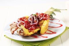 Shish kebab and crispy bacon Royalty Free Stock Images