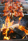 Shish kebab and fire Stock Photos