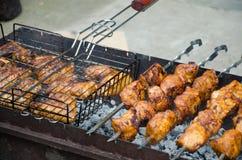 Shish kebab on fire Royalty Free Stock Image