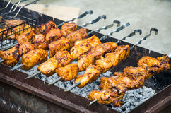 Shish kebab on fire Royalty Free Stock Photography