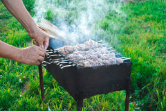 Shish kebab is fried on coals Royalty Free Stock Photography