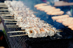 Shish kebab on a grill Stock Images