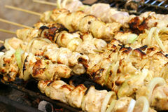 Shish kebab on grill Royalty Free Stock Photos