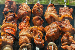 Shish kebab grill shashlik barbecue outdoors Royalty Free Stock Photos