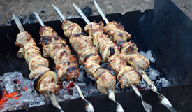Shish kebab on the grill Royalty Free Stock Photography