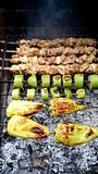 Shish kebab and grilled vegetables. Royalty Free Stock Photos