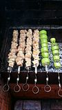 Shish kebab and grilled vegetables. Stock Photography