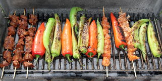Shish kebab on hot grill Royalty Free Stock Image