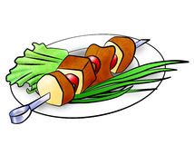 Shish kebab illustration Stock Image