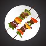Shish-kebab illustration Stock Images