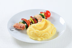 Shish kebab with mashed potato Royalty Free Stock Photography