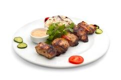Shish kebab met rijst en paddestoelen royalty-vrije stock afbeeldingen