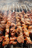 Shish kebab with the mix of spices on bbq Stock Photo