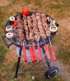Shish kebab nad grillem Zdjęcia Royalty Free