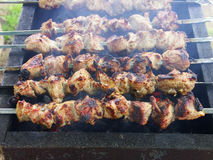 Shish kebab op de grill Stock Foto