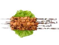 Shish kebab op vleespennen Royalty-vrije Stock Foto's