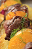 Shish kebab with oranges Royalty Free Stock Photography