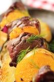 Shish kebab with oranges Royalty Free Stock Image